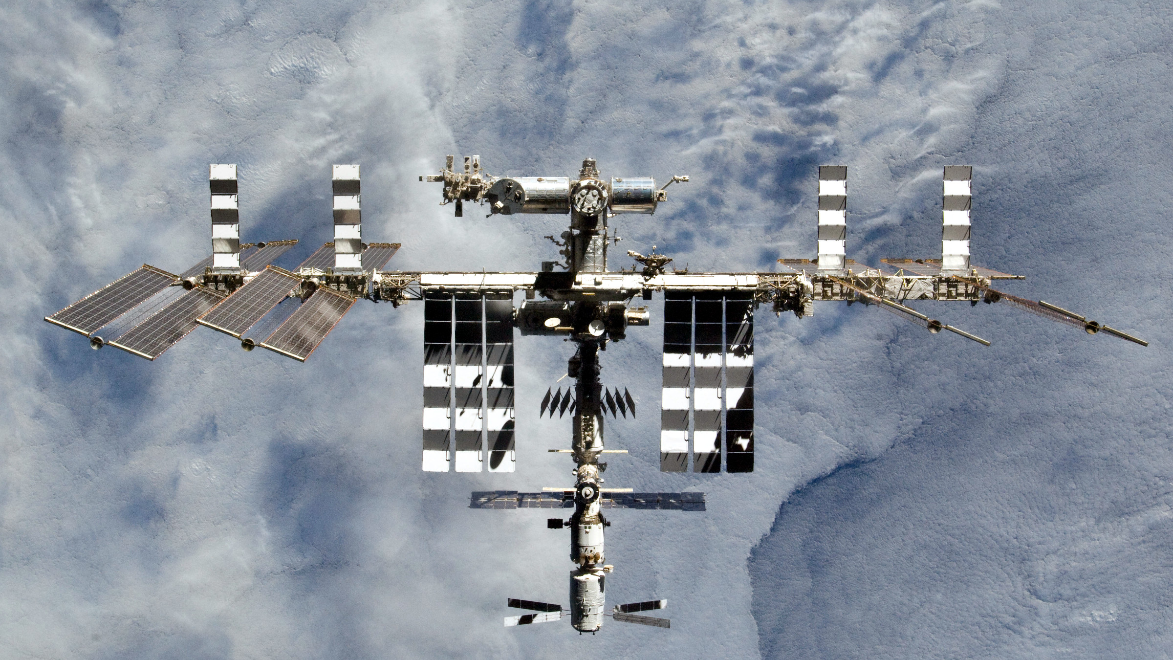 The International Space Station seen from the space shuttle in 2011.