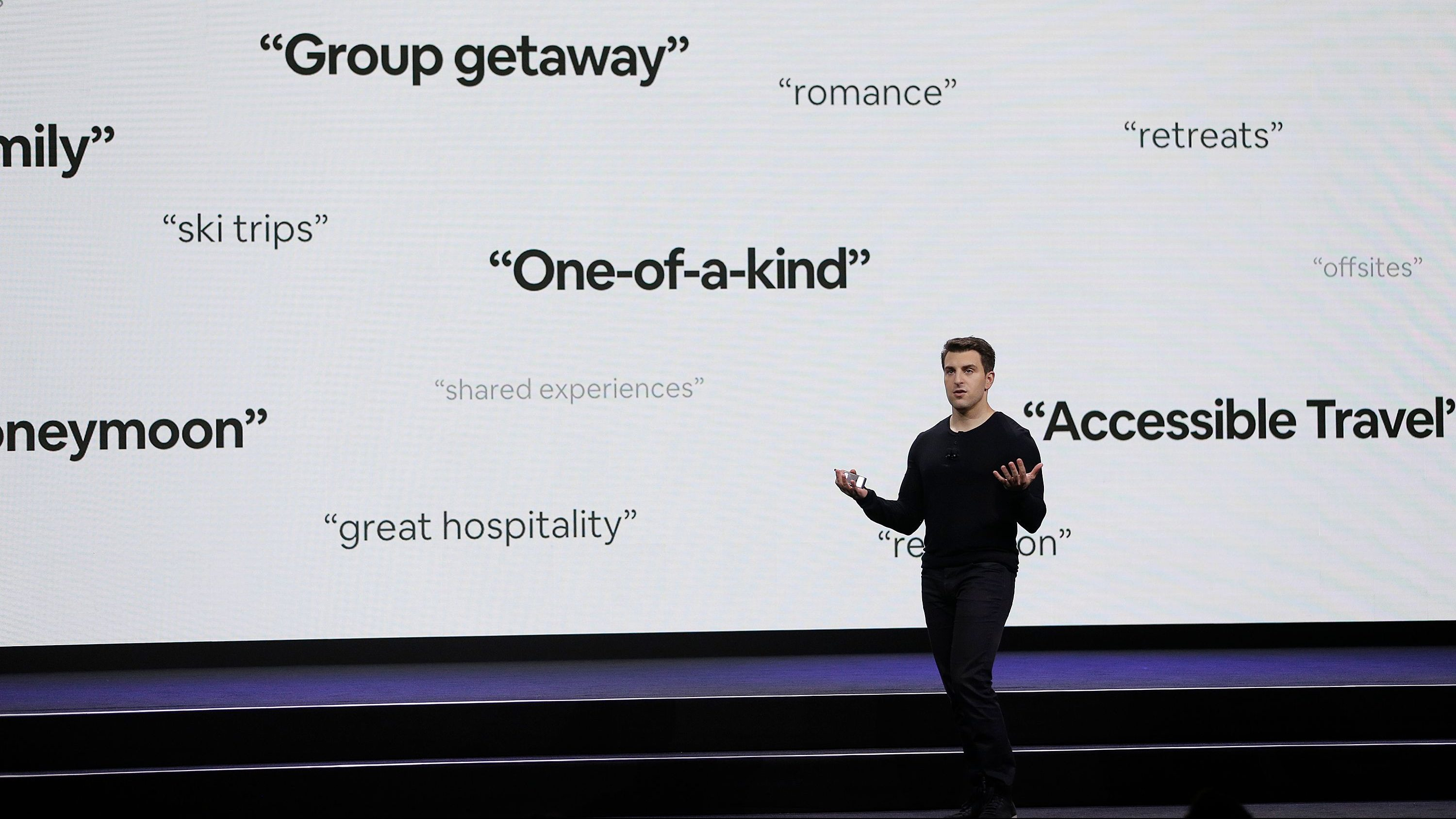 """Airbnb co-founder and CEO Brian Chesky speaks during an event Thursday, Feb. 22, 2018, in San Francisco. Airbnb is dispatching inspectors to rate a new category of properties listed on its home-rental service in an effort to reassure travelers they're booking nice places to stay. The new """"Plus"""" program unveiled Thursday initially will only cover about 2,000 homes in 13 cities. That's a small fraction of the roughly 4.5 million rentals listed on Airbnb in 81,000 of cities throughout the world. (AP Photo/Eric Risberg)"""