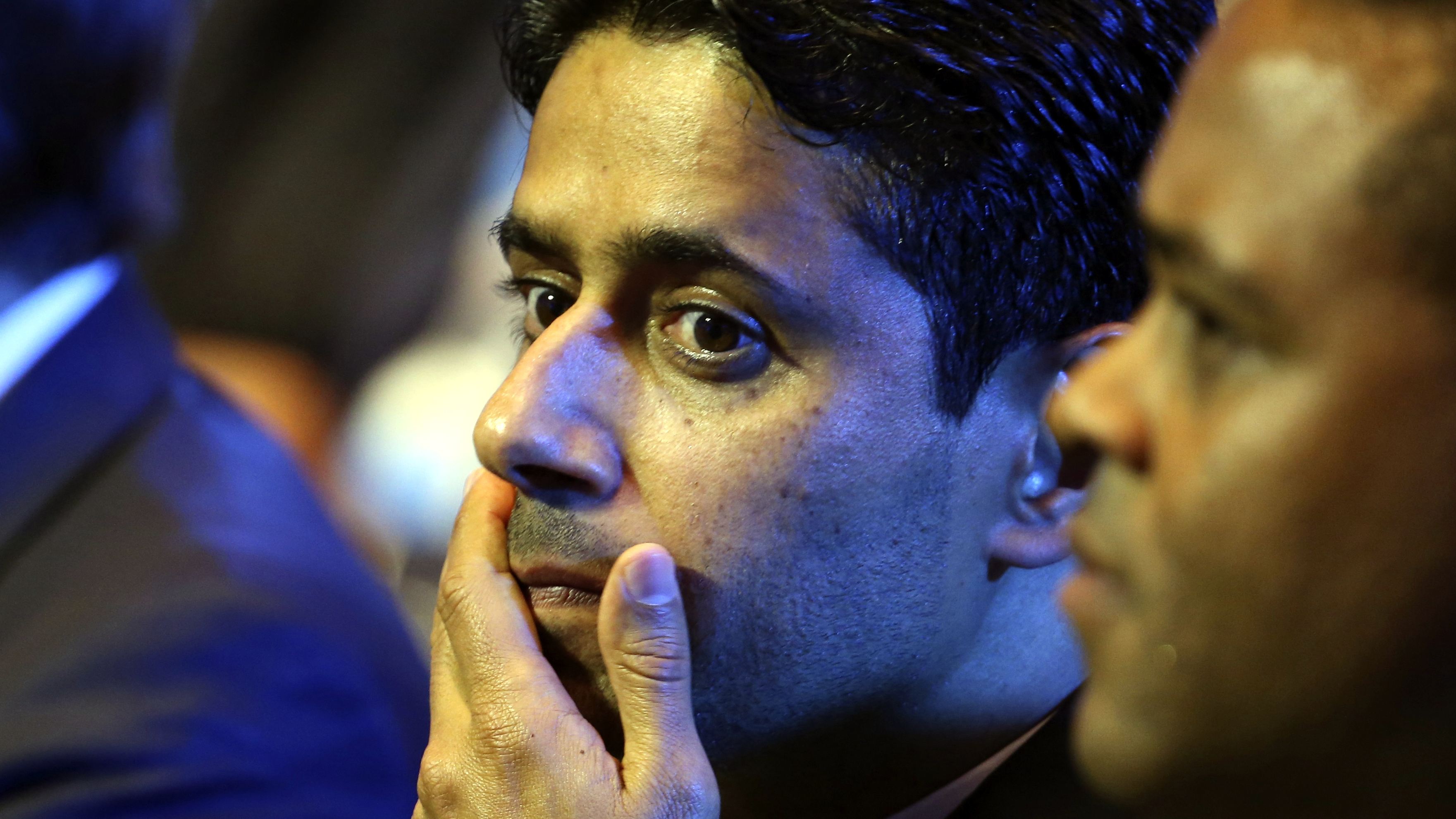 Nasser Al-Khelaifi, Paris Saint Germain's club owner and owner of Qatari TV channel Al Jazeera Sport, President of beIN Sport French TV channel reacts before the draw ceremony for the 2016/2017 Champions League Cup soccer competition at Monaco's Grimaldi Forum in Monaco, August 25, 2016.