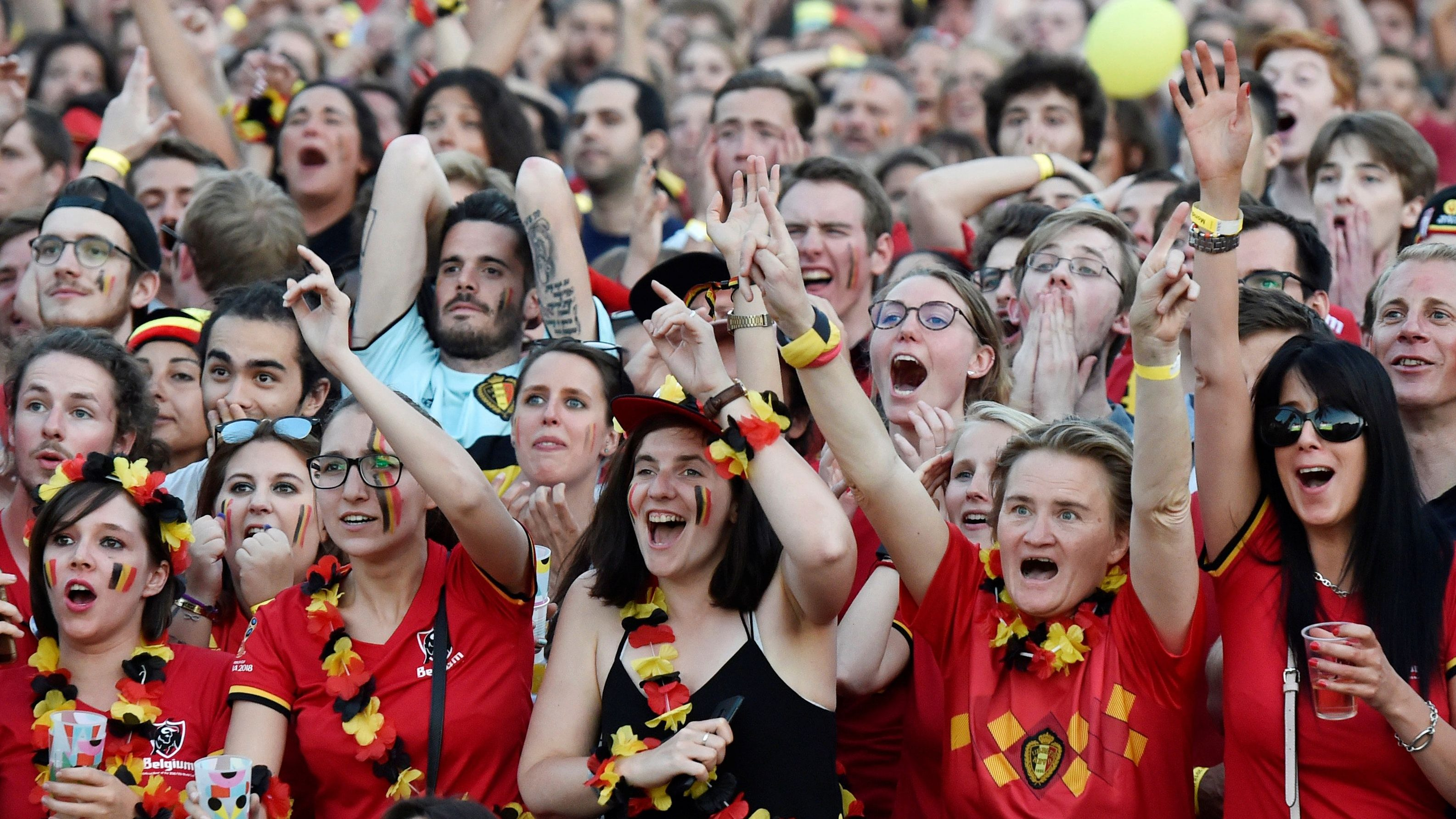 Belgian fans react as they watch the broadcast of the World Cup Group G soccer match between Belgium and England in Brussels, Belgium June 28, 2018.
