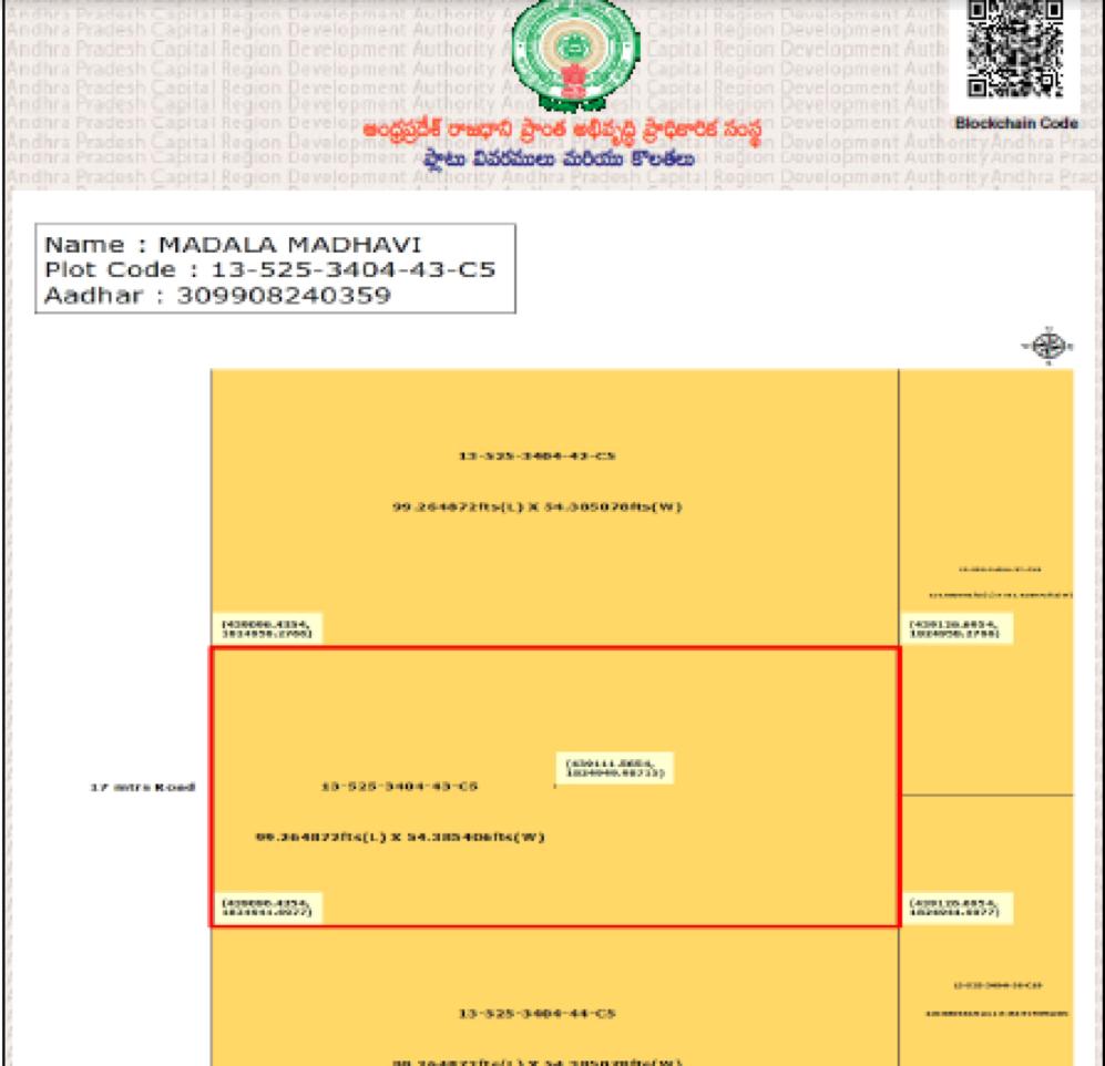Blockchain map of individual plot. Credit: APCRDA