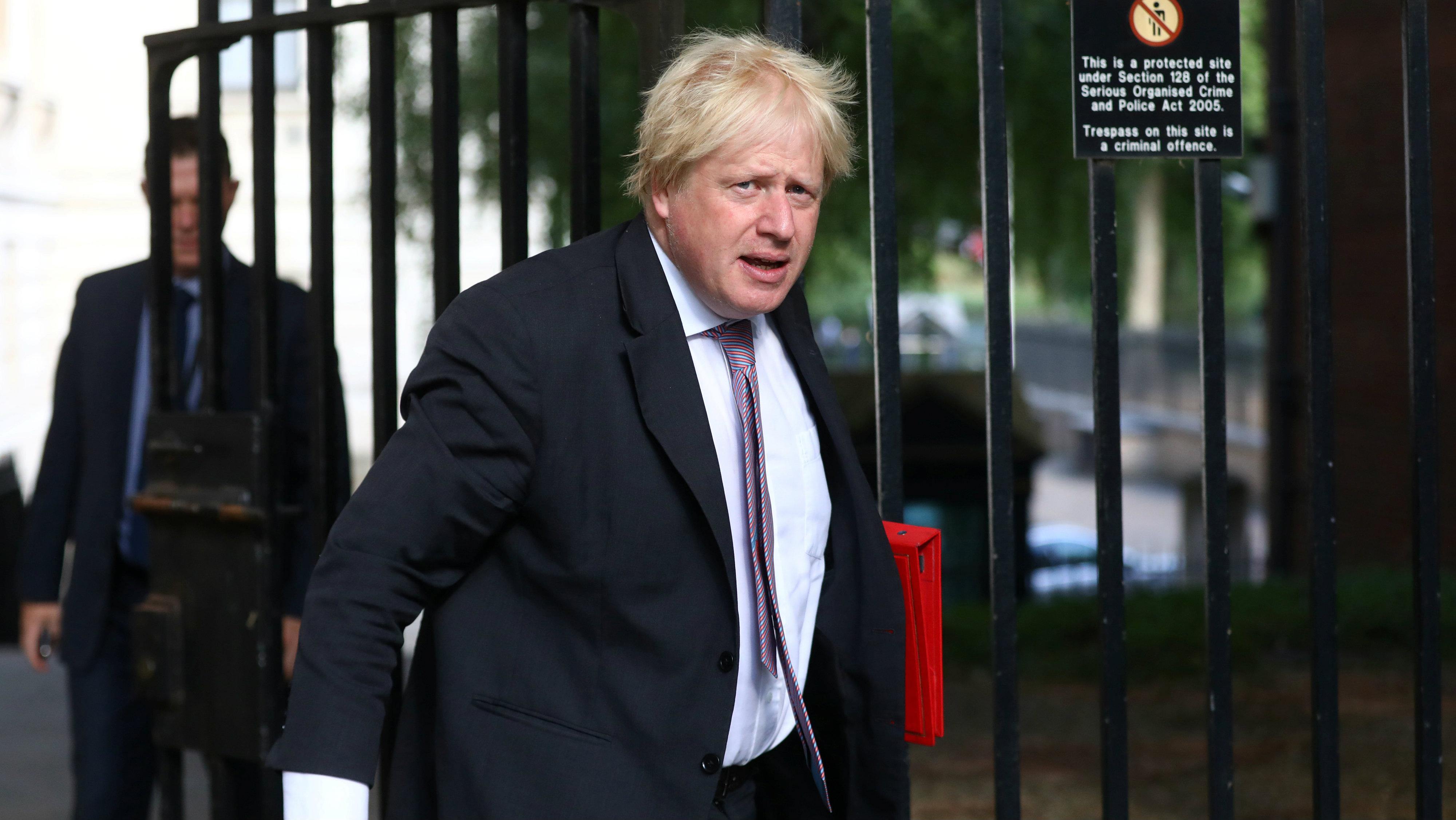 Boris Johnson arriving at Downing Street