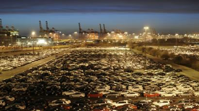 Cars sitting at a port