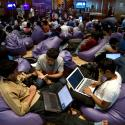INDIA-software engineers take part in the 24-hours uninterrupted open hacking in Bangalore.