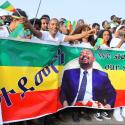 epa06832580 Suporters of Ethiopian Prime Minister Abiy Ahmed cheer just before an explosion rocked a massive rally to support him in Meskel Square in Addis Ababa, Ethiopia, 23 June 2018. Reports say the blast occurred shortly after Abiy addressed thousands of his supporters. Abiy says a few people have been killed.