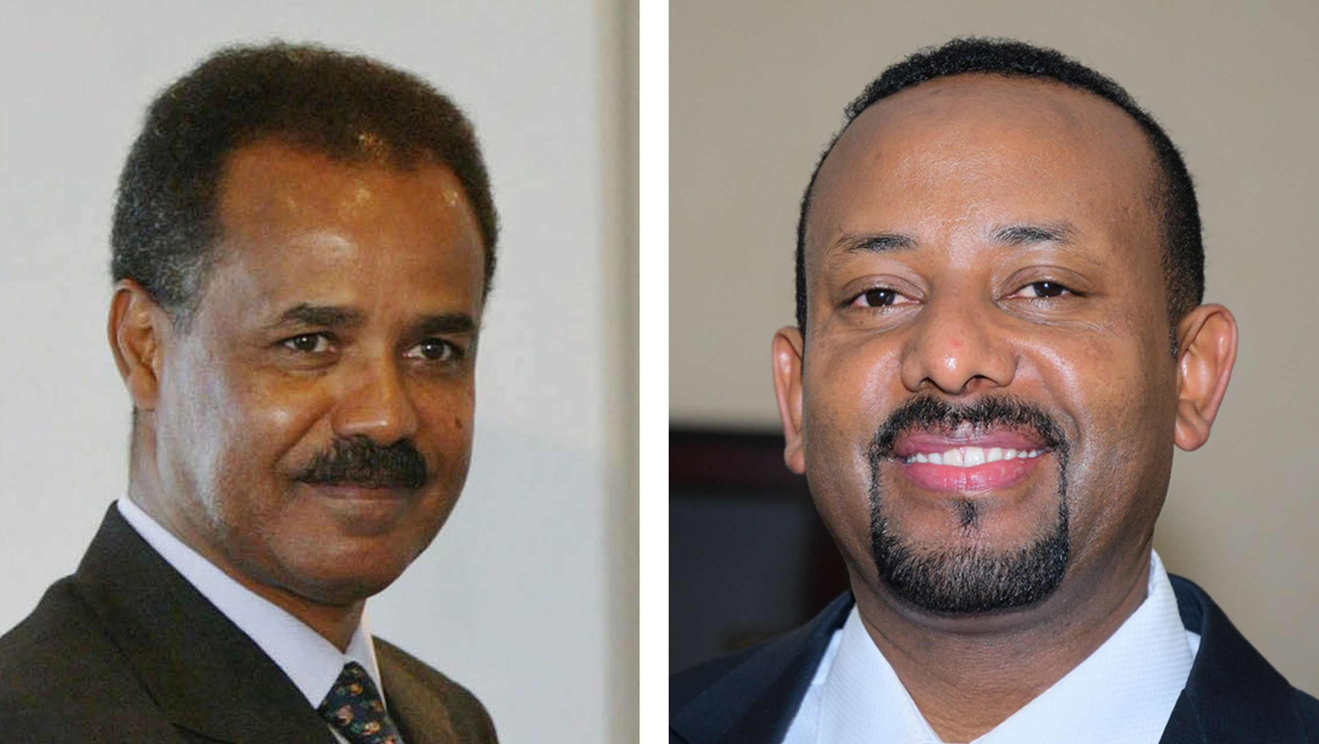 A composite file image showing  Ethiopia's Prime Minister Abiy Ahmed (R) in Addis Ababa, Ethiopia, 02 April 2017, and Isaias Afwerki (L), President of Eritrea in Tokyo, Japan, 28 September 2003 (re-issued 08 July 2018). Media reports on 08 July 2018 state Abiy Ahmed and Isaias Afwerki have met in Asmara, Ethiopia for peace talks. It is the first time leaders of the two nations met for talks in some 20 years. The two nations waged a war against each other from May 1998 to June 2000, with an estimated 80,000 people dying.