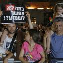 Israelis hold signs reading' How much No we can hear?' during a demonstration for gay rights in front of the Government Compound in Tel Aviv,