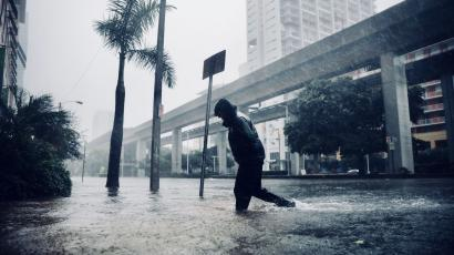 A flooded street in downtown Miami as Hurricane Irma arrives on Sept. 10, 2017.