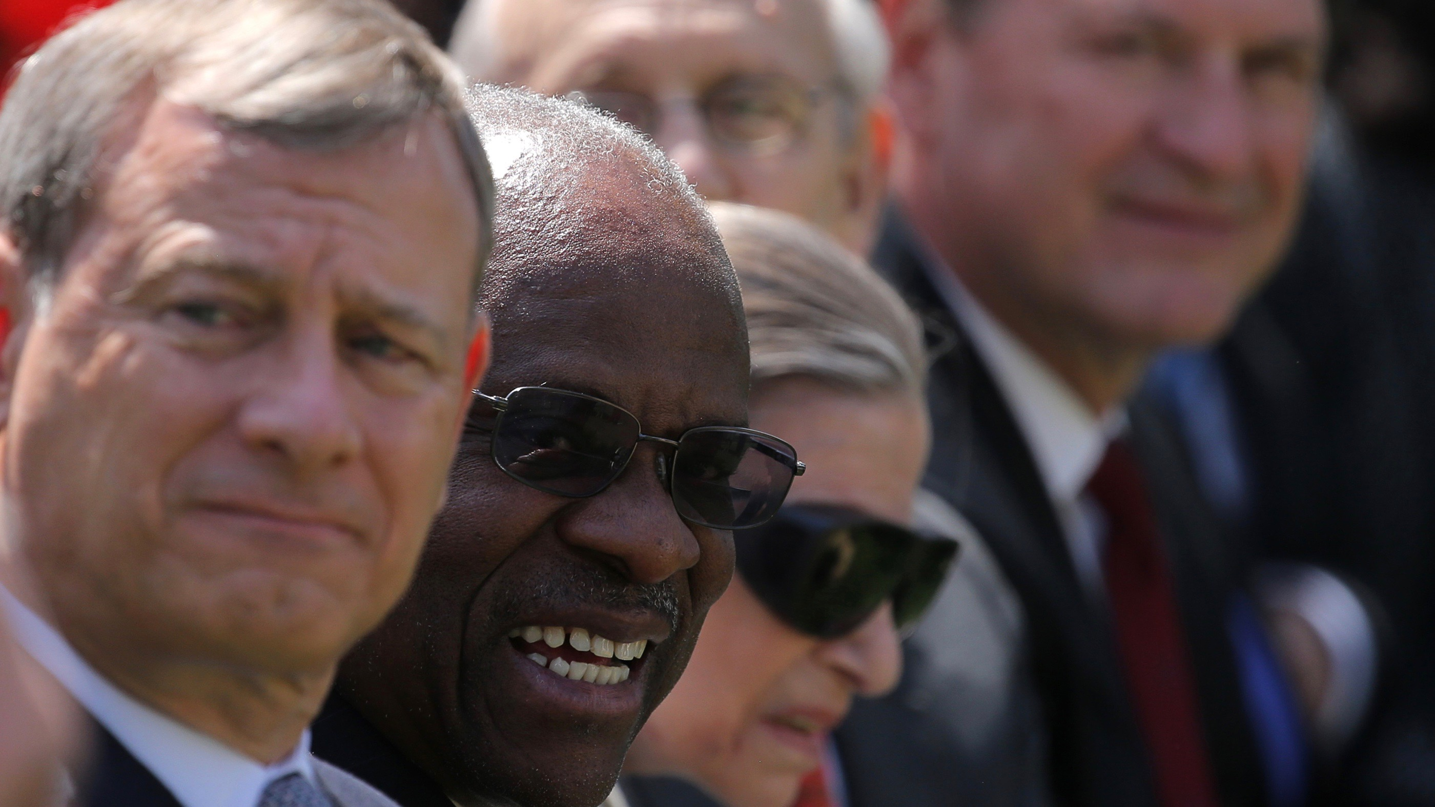 Chief Justice John Roberts, Clarence Thomas, Ruth Bader Ginsburg, Stephen Breyer and Samuel Alito attend the daytime swearing in ceremony for new Supreme Court Associate Justice Neil Gorsuch on April 10, 2017.