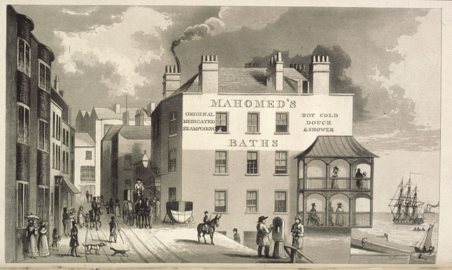 Sake Dean Mahomed's business premises, in Brighton. Image taken from Shampooing; or, benefits resulting from the use of the Indian Vapour Bath as introduced by SDM. Second edition.