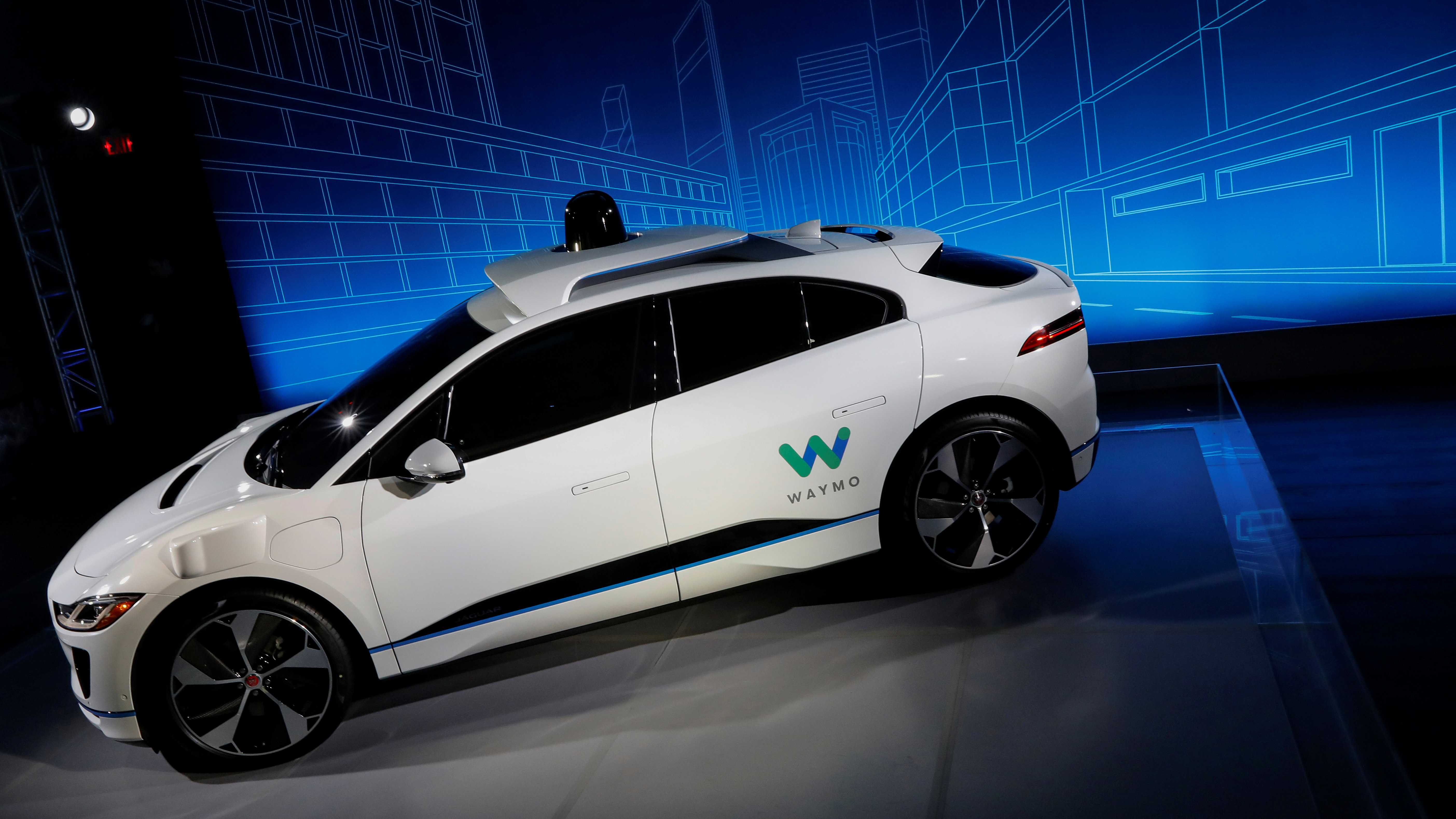A Jaguar I-PACE self-driving car is pictured during its unveiling by Waymo in the Manhattan borough of New York City, U.S., March 27, 2018. REUTERS/Brendan McDermid - RC16939AAF40