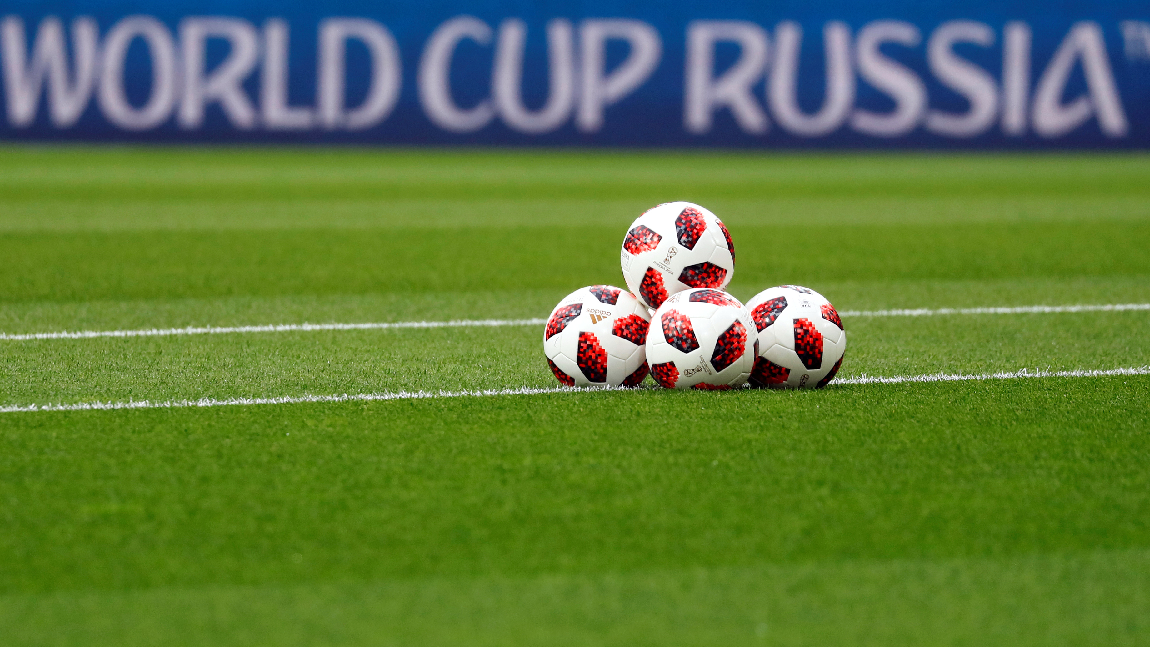 Soccer Football - World Cup - Round of 16 - Colombia vs England - Spartak Stadium, Moscow, Russia - July 3, 2018 General view of balls on the pitch before the match