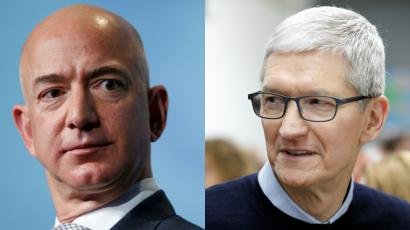 Amazon CEO Jeff Bezos and Apple CEO Tim Cook