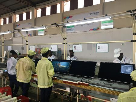 Assembling LED TVs in the Ethiopia factory