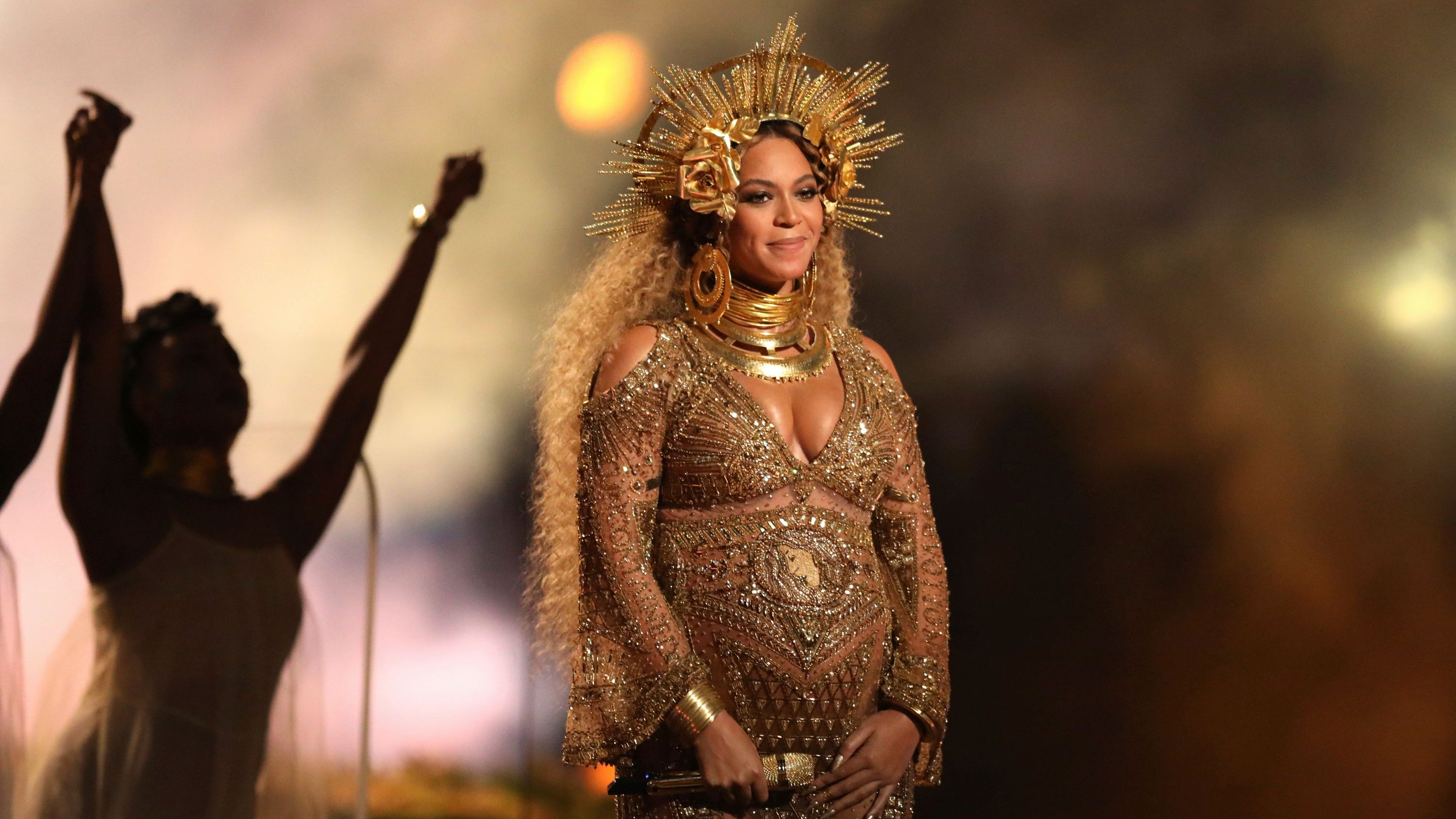 Beyonce performing at the 59th annual Grammy Awards in Los Angeles.