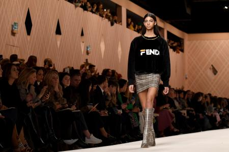 MILAN, ITALY - FEBRUARY 22: A model walks the runway at the Fendi show during Milan Fashion Week Fall/Winter 2018/19 on February 22, 2018 in Milan, Italy. (Photo by Jacopo Raule/Getty Images)