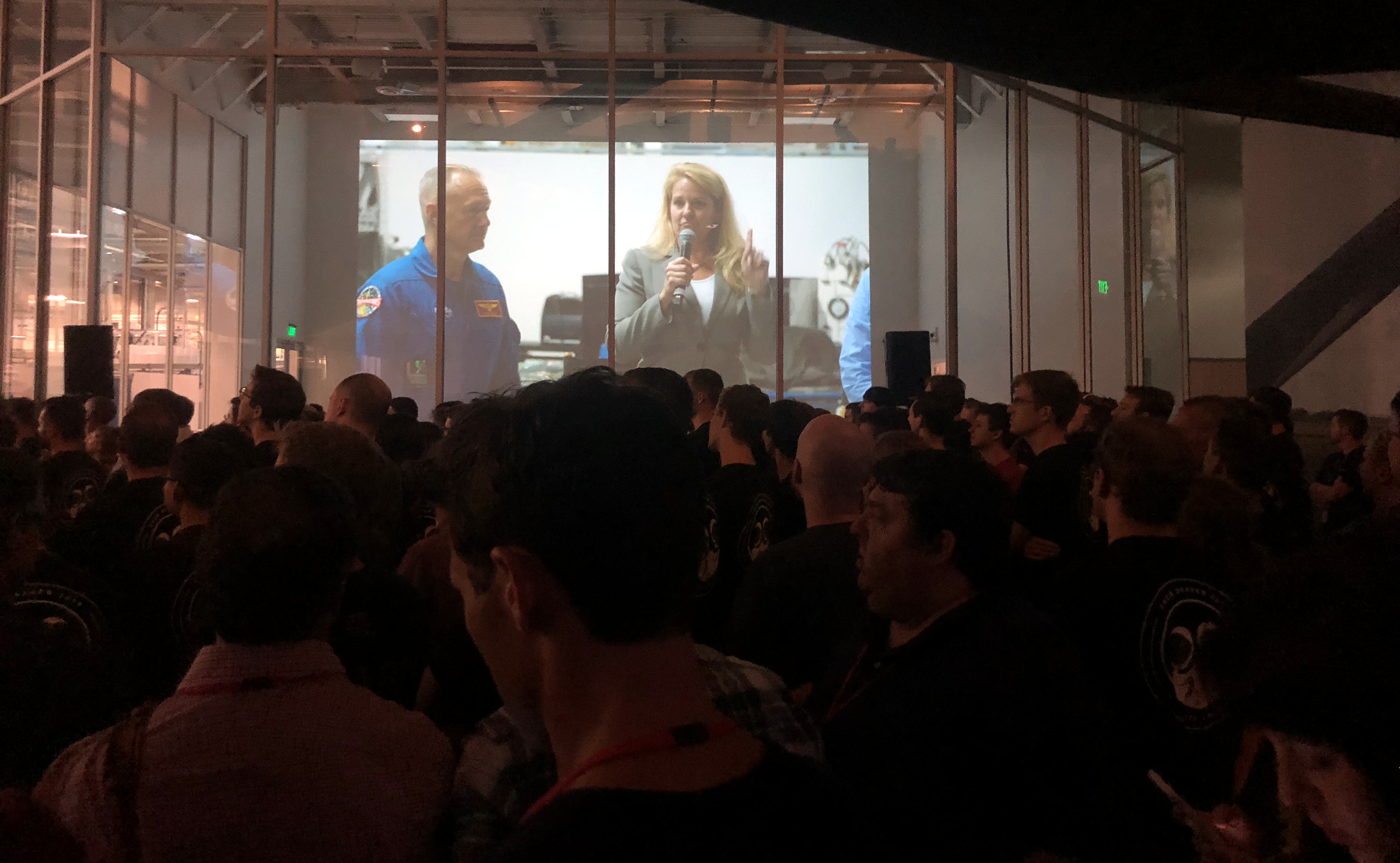 SpaceX president Gwynne Shotwell introduces astronauts, including Doug Hurley, to SpaceX employees.