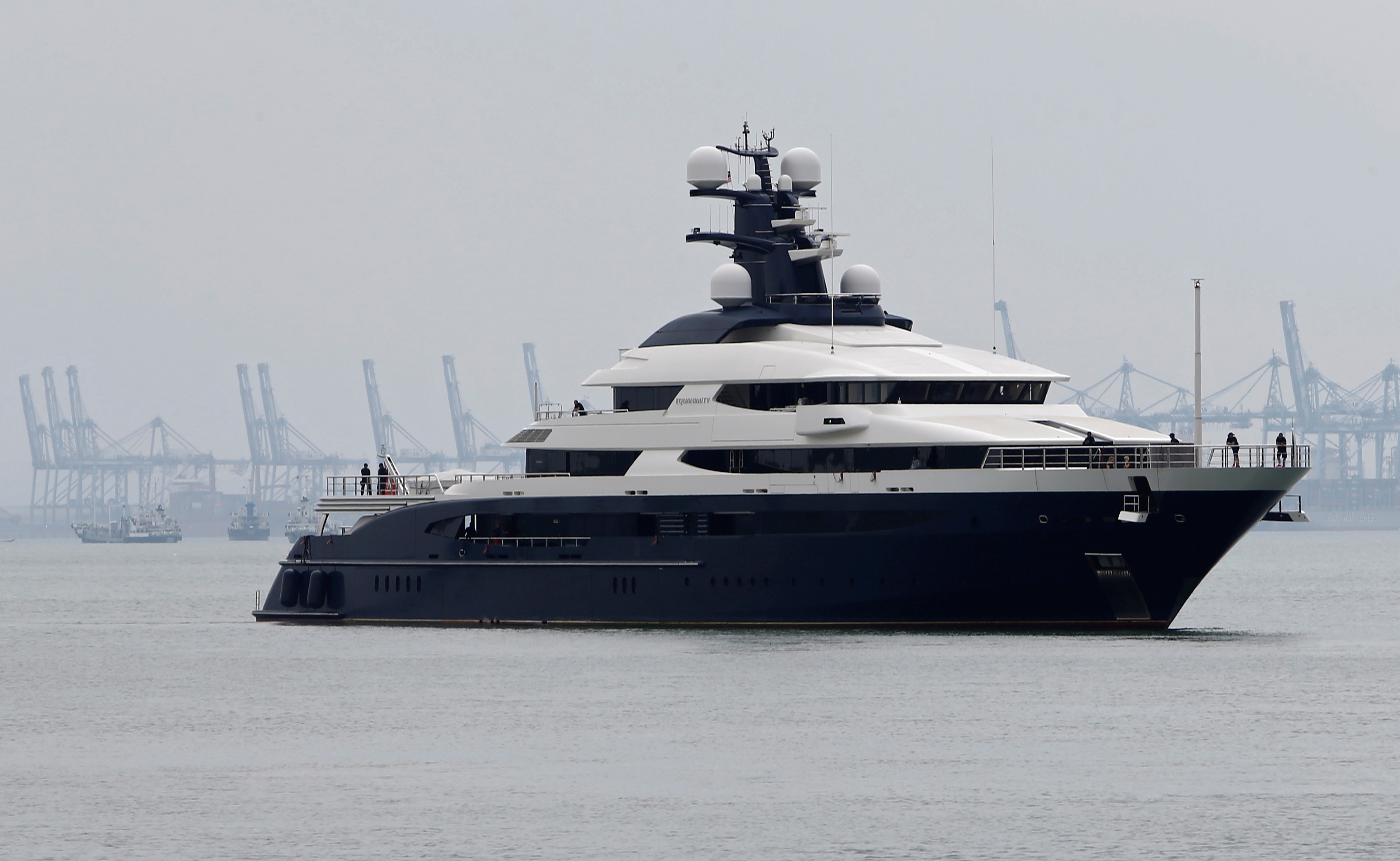 Seized luxury yacht Equanimity, belonging to fugitive Malaysian financier Low Taek Jho, is brought to Boustead Cruise Terminal in Port Klang, Malaysia August 7, 2018.