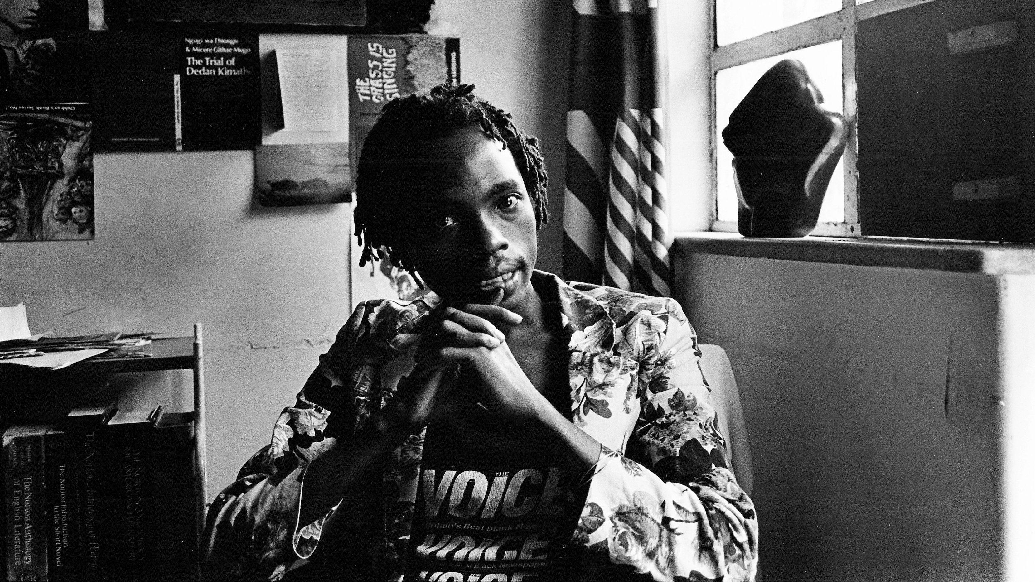 Dambudzo Marechera in his flat at 8 Sloane Court, Harare, March 1986