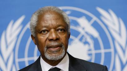 U.N.-Arab League mediator Kofi Annan addresses a news conference at the United Nations in Geneva August 2, 2012. Former U.N. Secretary-General Annan is stepping down as the U.N.-Arab League mediator in the 17-month-old Syria conflict at the end of the month, U.N. chief Ban Ki-moon said in a statement on Thursday. (SWITZERLAND - Tags: CIVIL UNREST POLITICS HEADSHOT CONFLICT TPX IMAGES OF THE DAY) - GM1E8821SWO01
