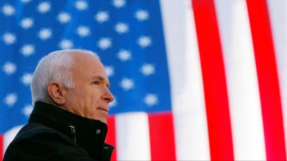 U.S. Republican presidential nominee Senator John McCain (R-AZ) speaks at a campaign rally in Defiance
