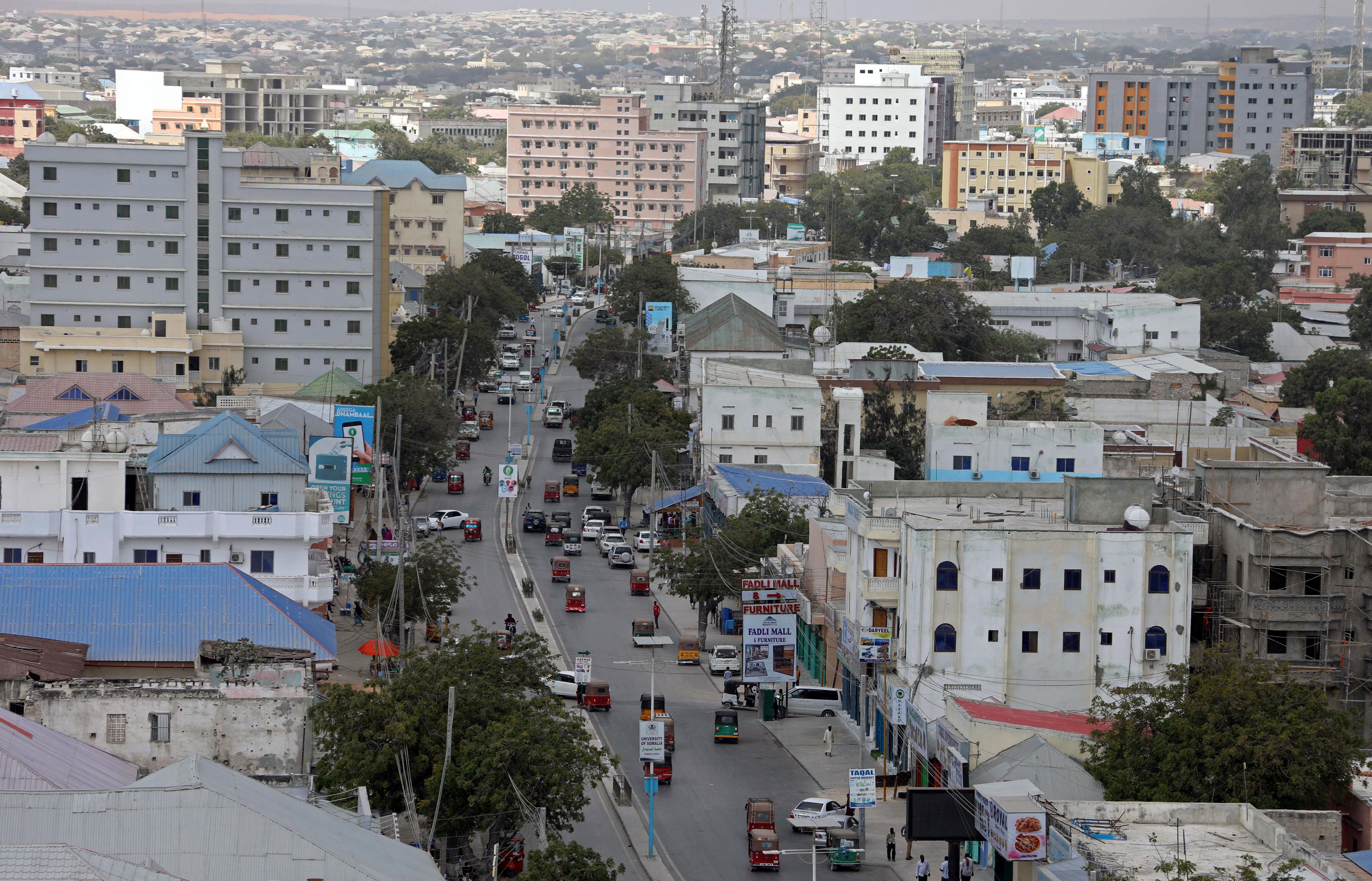 An aerial view shows rickshaw traffic in the downtown of Mogadishu, Somalia February 14, 2018.