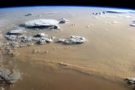 A massive Sahara sand storm witnessed from the International Space Station in 2014.