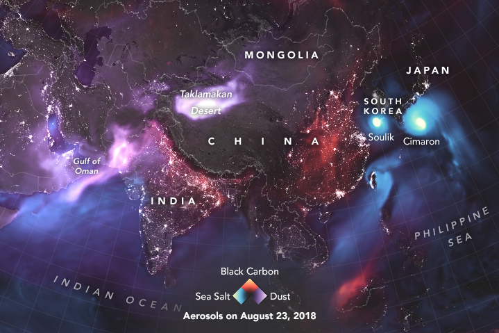 Dust lifted off of deserts in Africa and Asia, and salt spray swirled inside of tropical cyclones approaching South Korea and Japan.