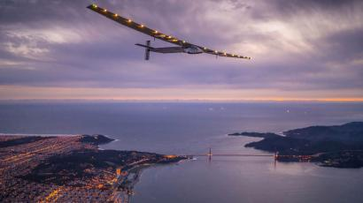 """Solar Impulse 2"", a solar-powered plane piloted by Bertrand Piccard of Switzerland, flies over the Golden Gate bridge in San Francisco, California, U.S. April 23, 2016, before landing on Moffett Airfield following a 62-hour flight from Hawaii. Jean Revillard/Solar Impulse/Handout via REUTERS/File Photo ATTENTION EDITORS - THIS IMAGE WAS PROVIDED BY A THIRD PARTY. EDITORIAL USE ONLY - S1AETRTMTZAC"