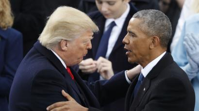 The jobs created under trump are different than under obama quartz donald trump and barack obama greeting each other m4hsunfo