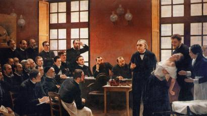 French neurologist Jean-Martin Charcot demonstrating hypnosis on a 'hysterical' patient.