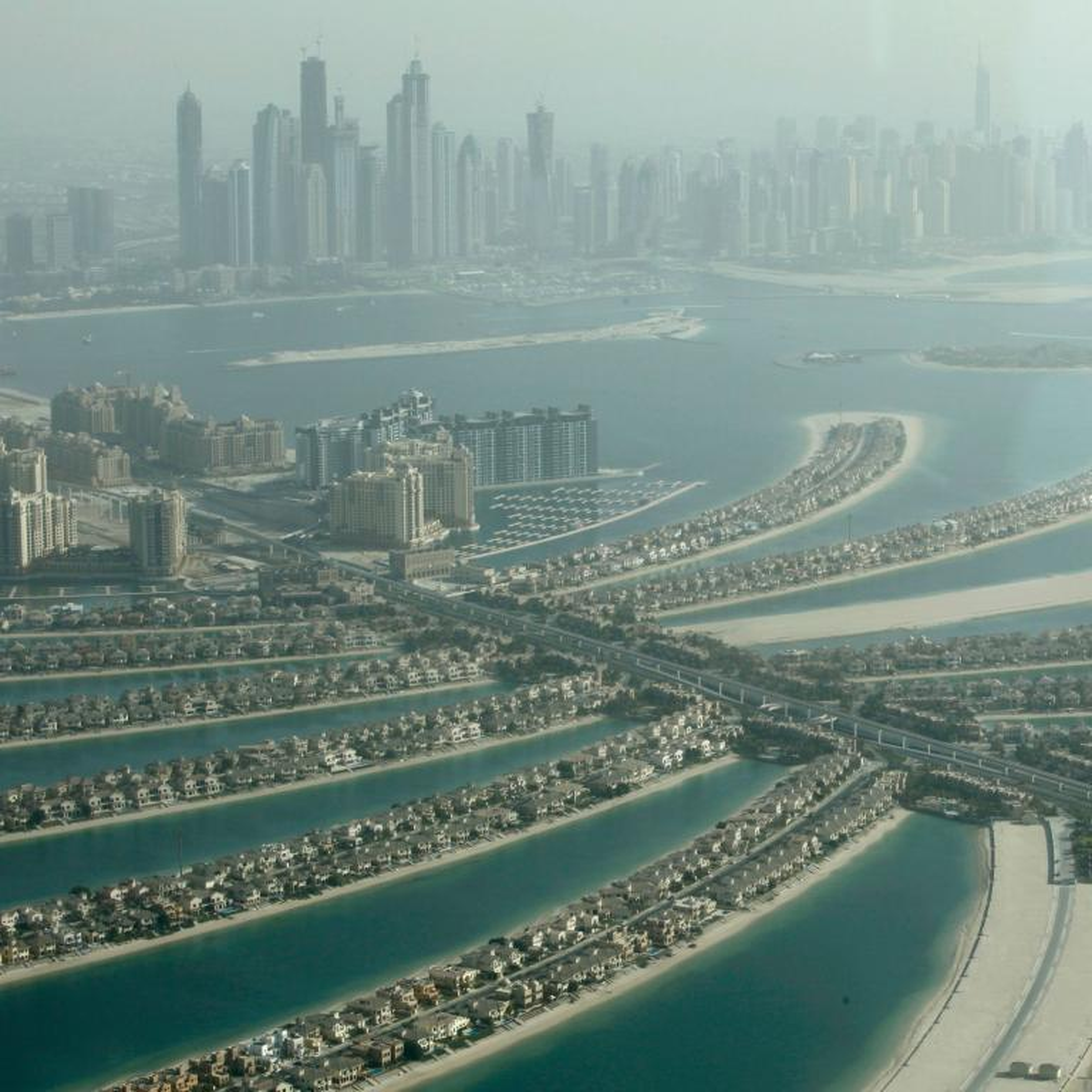 An aerial photo of the Palm Islands in Dubai, UAE.