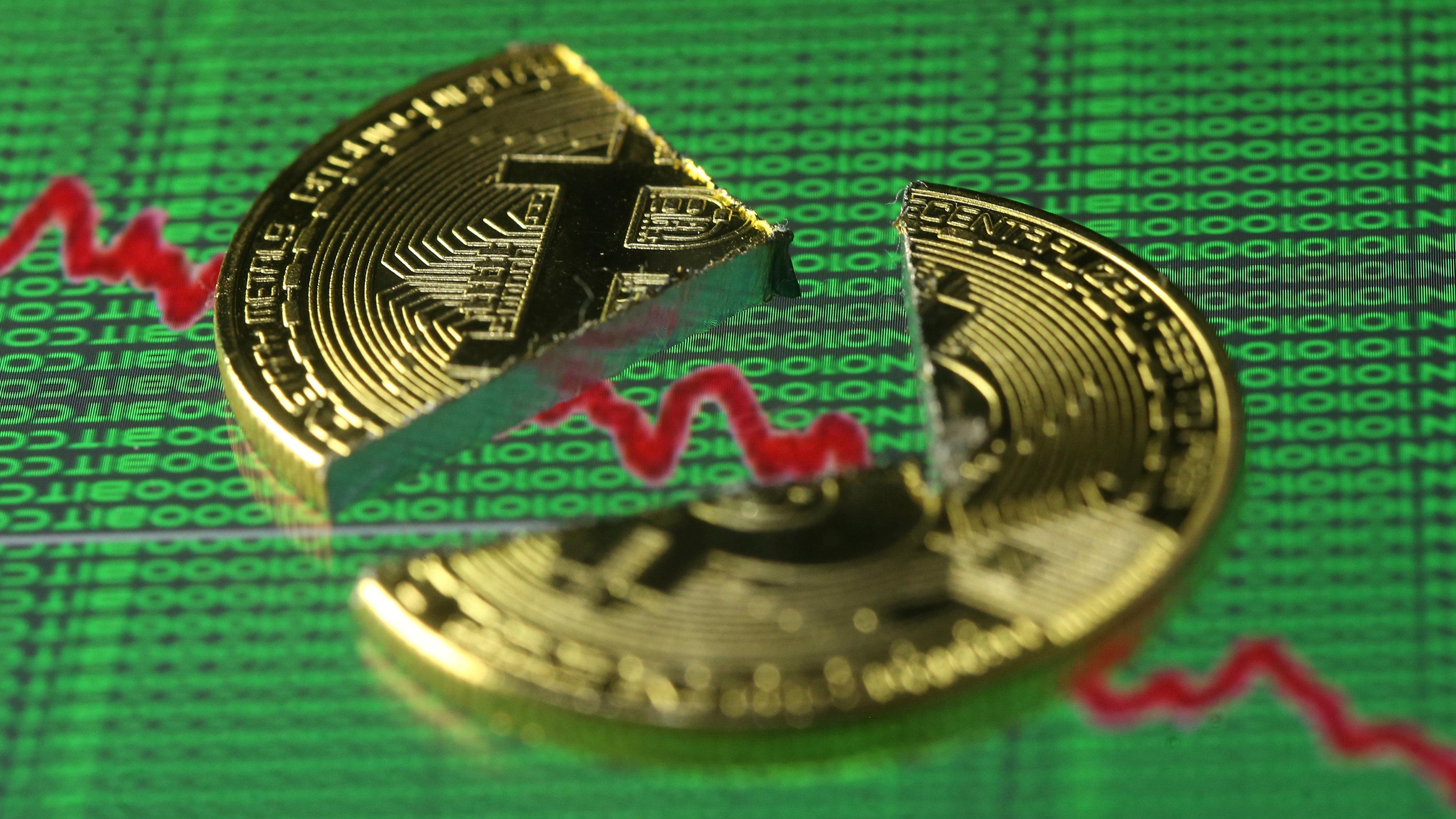 broken bitcoin over downward chart