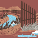 Illustration of the US-Mexico border wall planned by Donald Trump.