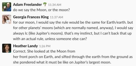 A screenshot of the conversation about the Moon