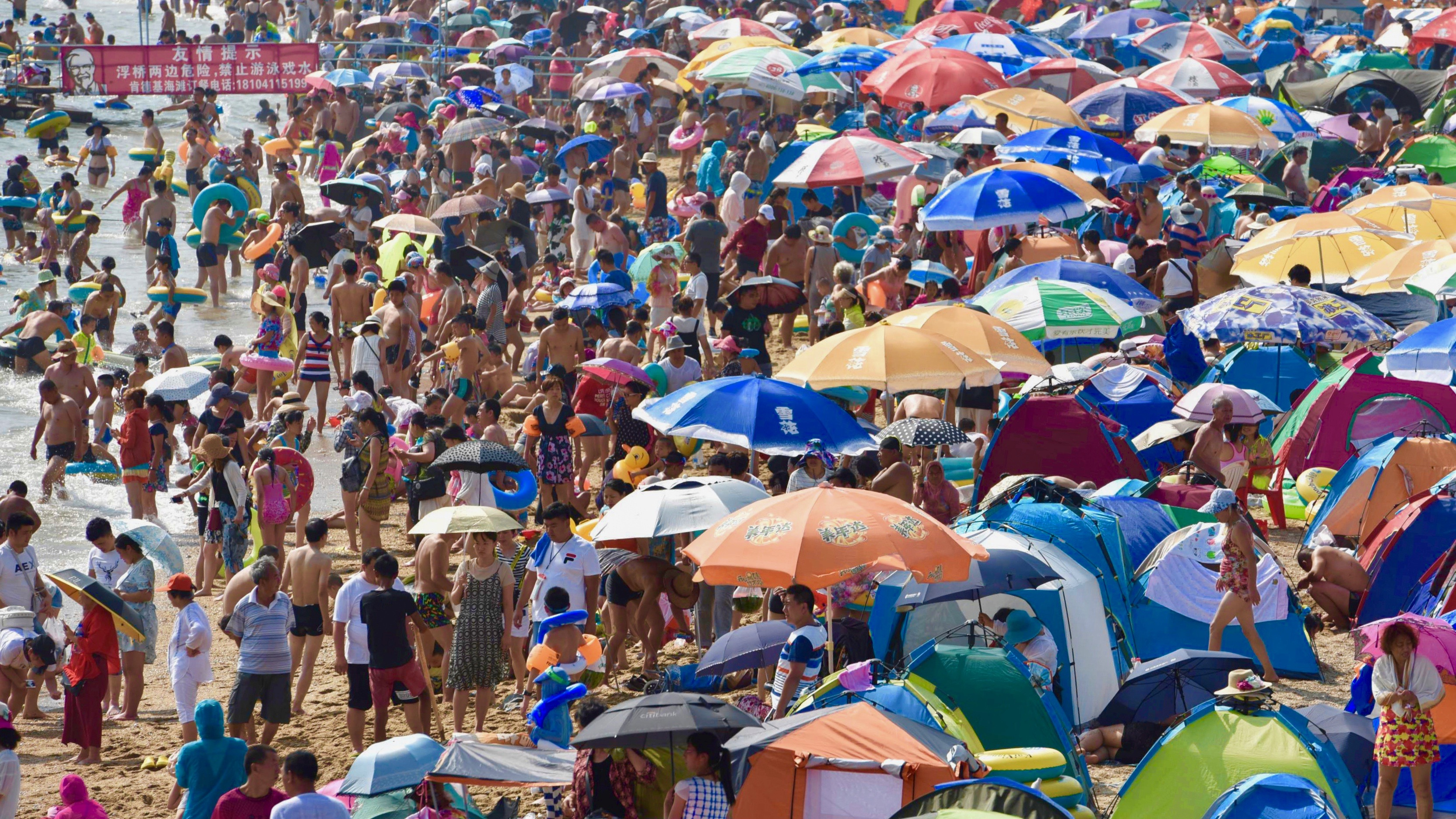 A day at the beach in Dalian, Liaoning province, China.