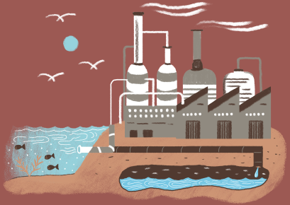 Illustration of a desalination plant in Texas