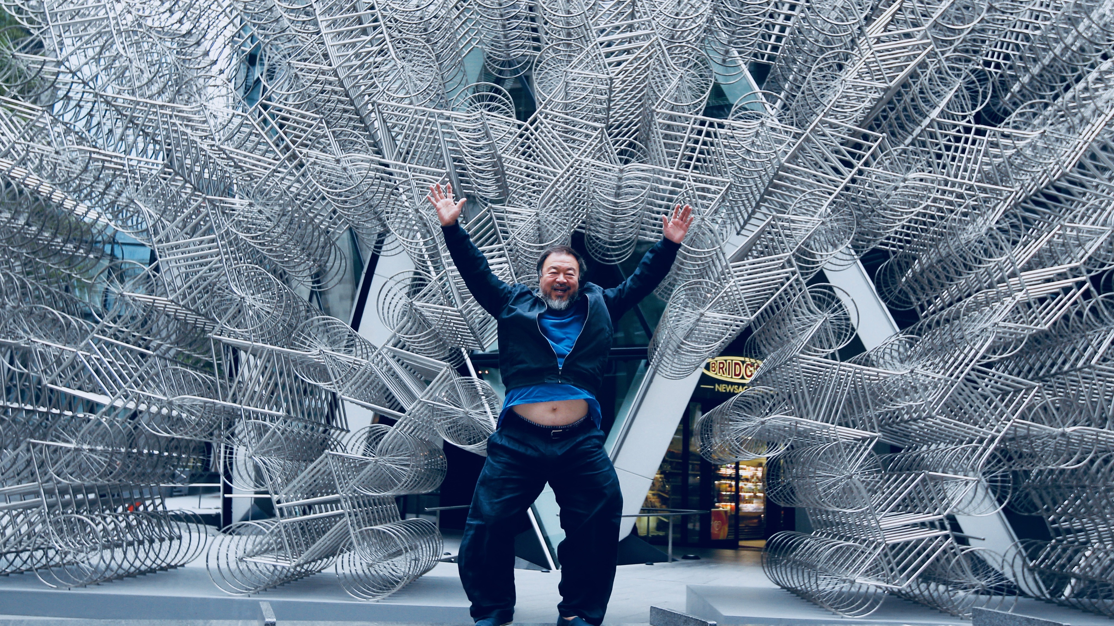 Artist Ai Weiwei visits his sculpture, 'Forever' in London in 2015.