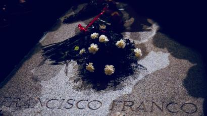 Flowers lie on the tomb of Spanish dictator Francisco Franco at El Valle de los Caidos.