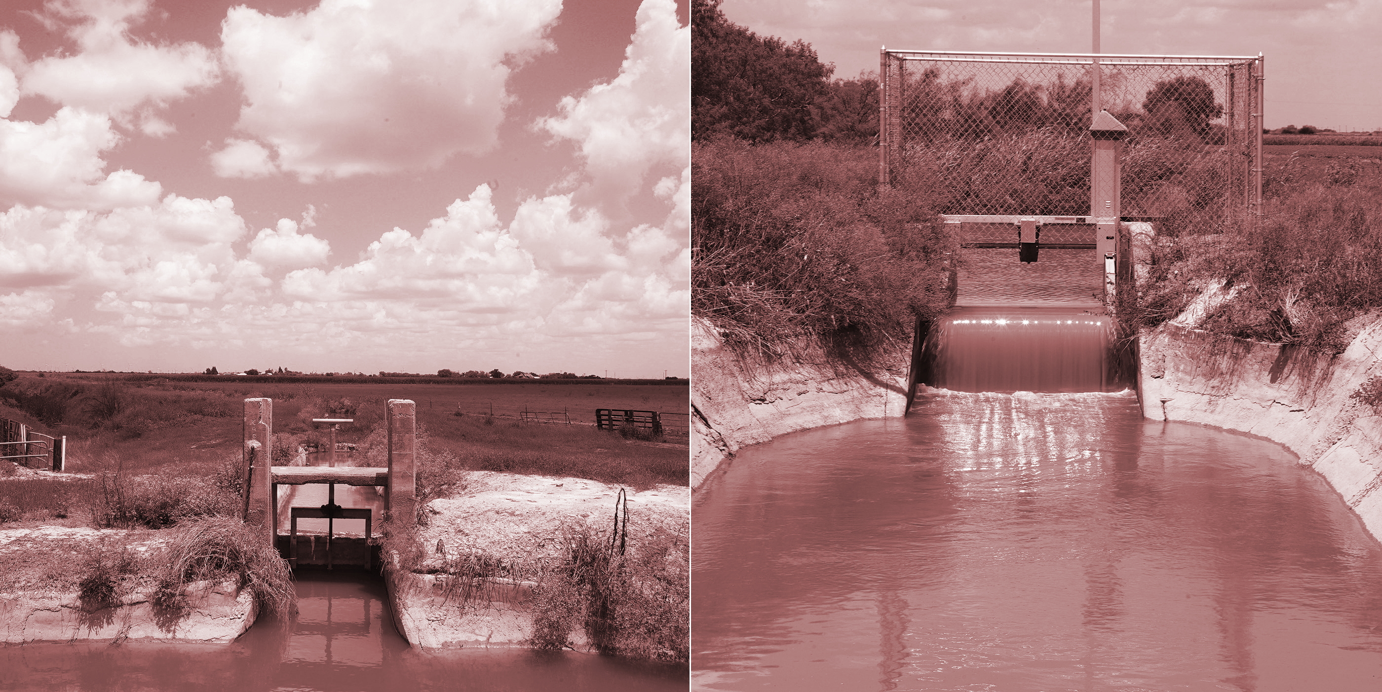 Left: One of the Delta Lake Irrigation District's 35 old, hand-turned canal gates ,on the Raymondville canal. Right: A newer, electronic canal gate on the Raymondville canal.