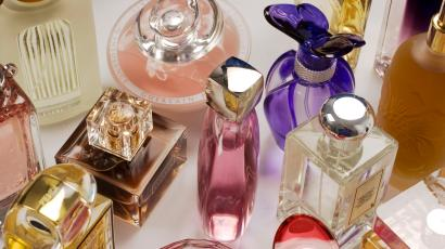 glass bottles of designer perfume