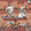 Illustration of two men, one American, one Mexican, trying to paddle a boat on a drying river.