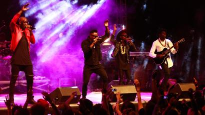 Bien-aime Baraza (L-R), Delvin Mudigi Savara, Willis Chimano and Polycarp Otieno of Afro pop group and 2014 best African Act at the MTV Europe Music Awards, Sauti Sol performs at 'Ndovu Zetu' concert (in Swahili meaning 'Our Elephants') being the first concert for Kenya wildlife festival held in Nairobi, Kenya, 28 February 2015. The concert was aimed to support the efforts of protecting and advocating for anti poaching of Elephants in Africa through music. Kenya will mark this year's World Wildlife Day by hosting a week long Kenya Wildlife Festival in celebration of her unique wildlife heritage and beauty from 28th February to 7th March. The festival seeks to give the public an opportunity to learn about wildlife through music, citizen science projects, debates, films, and theatre.