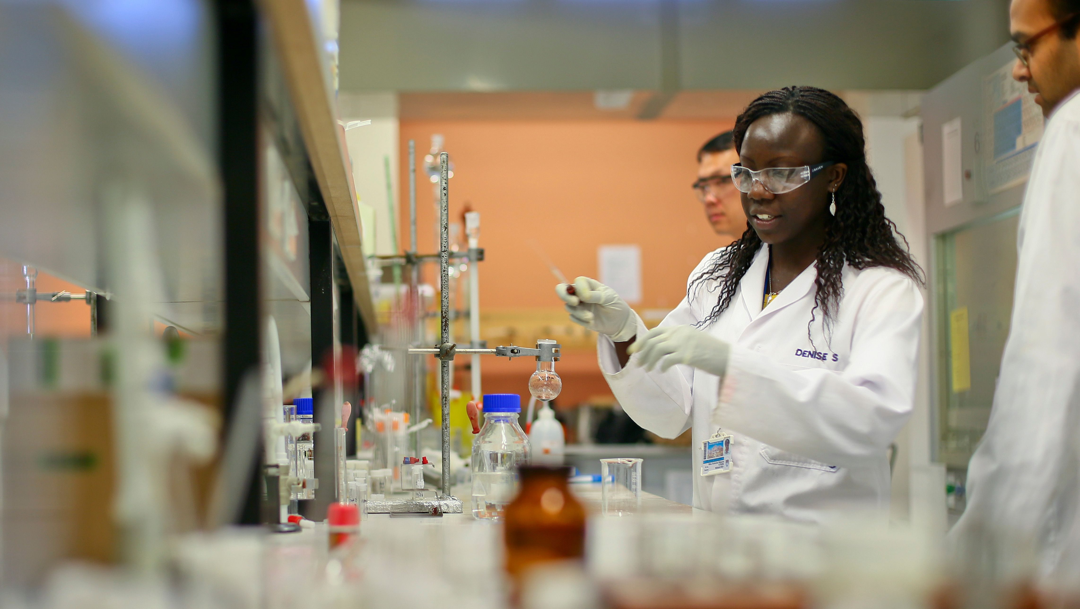 epa05913087 (FILE) - University of Cape Town (UCT) scientists work in the Drug Discovery and Development Centre (H3-D) laboratory in Cape Town, South Africa, 30 August 2012. South African Science and Technology Minister Naledi Pandor announced 28 August 2012 the discovery of a compound that has the potential to become a single-dose cure for all strains of Malaria. The synthetic molecule from the aminopyridine class was discovered by the H3-D scientists in collaboration with the Medicines for Malaria Venture (MMV) from Switzerland. Professor Kelly Chibale from UCT, leading researcher of the collaborative research project is quoted as saying the molecule had not been tested on humans yet but animal studies had shown 'potent activity against multiple points in the malaria parasite's lifecycle' This is the first compound researched in Africa to enter pre-clinical development that may lead to the single dose cure for Malaria as well as be able to block transmission of the parasite from person to person. World Malaria Day is on 25 April 2017 and will be marked with the theme 'End Malaria for Good' for the second time running.