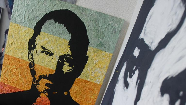 A portrait of Steve Jobs made of thousands of pieces of chewed gum, by artists Anna-Sofiya Matveeva.