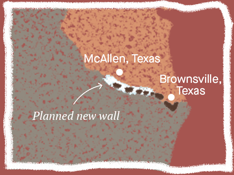 Planned border wall near McAllen and Brownsville, Texas