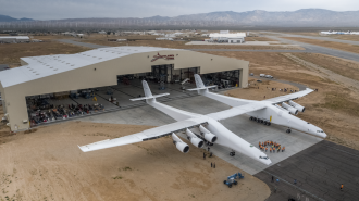 The Stratolaunch on display at Mojave Airport.