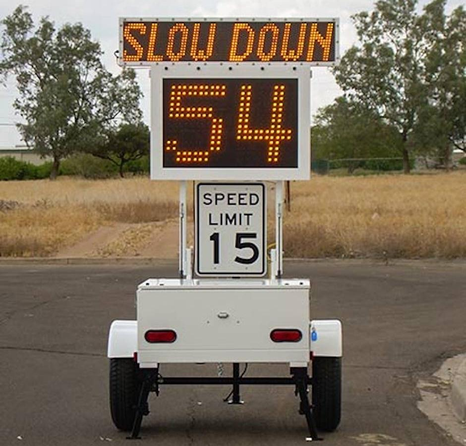 The US government is using road signs showing drivers how fast they
