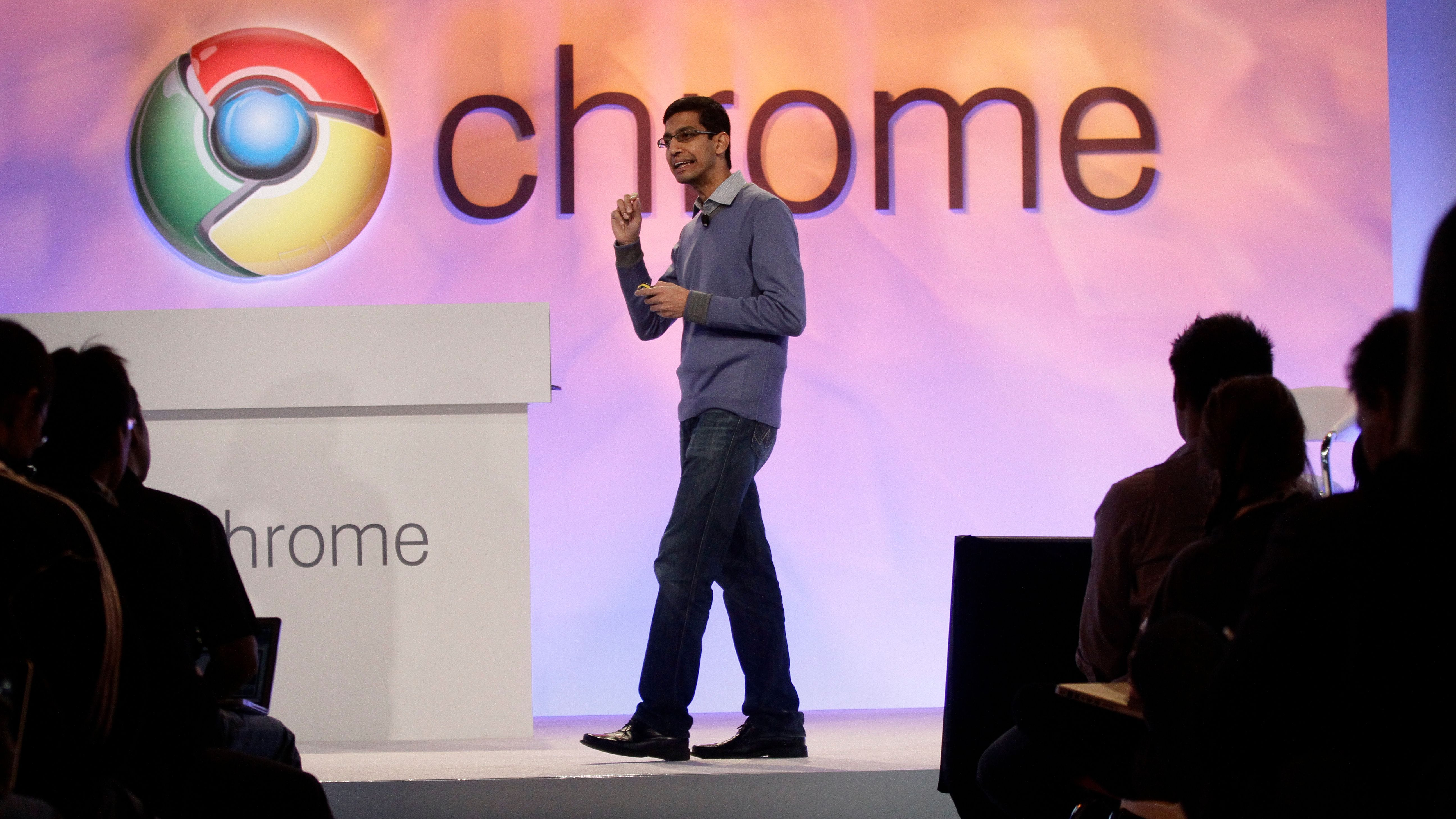 Sundar Pichai, Vice President for Product Management, demonstrates the new Google Chrome operating system in San Francisco, Tuesday, Dec. 7, 2010.