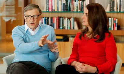 In this Feb. 1, 2018, file photo, Microsoft co-founder Bill Gates and his wife Melinda take part in an AP interview in Kirkland, Wash. Bill Gates is starting a new fight against systemic poverty in America, as his private foundation announces millions of dollars toward unspecified initiatives ranging from data projects to funding for community activists. (AP Photo/Ted S. Warren, File)